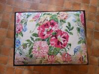 FOOT STOOL COVERED WITH VINTAGE TAPESTRY EHRMAN CHINTZ PINK SUSANNA LISLE 1989