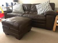 Leather Sofas - 3 Seater, 2 Seater And Storage Footstool