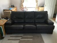 3 seater and 2 seater chocolate coloured leather sofa's
