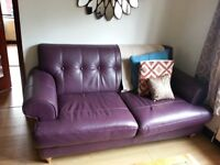DFS Planet Leather Couch Sofa - 2 Seater - PURPLE - 18 Months old - Very Chic - Cost £879!