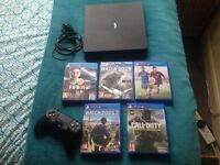 Sony ps4 slim 500gb,wireless controller,5 games infinite warefare/watchdogs 1,2/FIFA 14,15