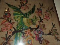 CLOTH PICTURE HAND WOVEN XOTIC BIRD ON BRANCH WITH OPEN WINGS
