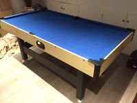 6 foot x 3 foot pool table with cues, triangle and all balls