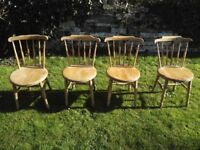 Set of pine chairs.
