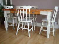 pine table with drawers and 4 chairs