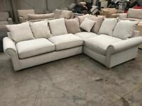 Brand new large silver grey corner sofa suite