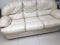 White leather sofa and 1 armchair