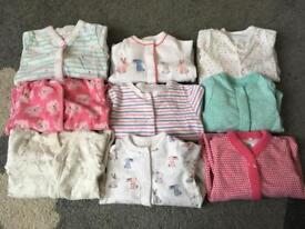 Girls baby bundle sleepsuits 0-1 month