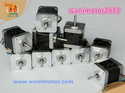 Free Shipment 10pcs Nema 17 Stepper Motor 1.8 Degree Bipolar 40mm Body 0.4n.m