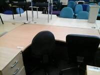 Modern waved corner desk