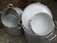 Catering saucepans, varying sizes suitable for new business or perhaps village hall