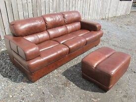 Brown Leather Sofas with Footstools