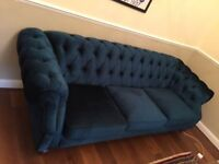 **High quality velvet three seater sofa** Only one year old and in immaculate condition