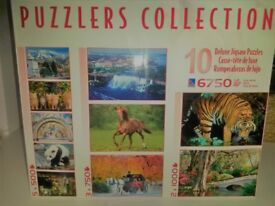 NEW 10 JIGSAWS ONE BOX - CARRY HANDLE - PUZZLER COLLECTION BRAND NEW 6750 PIECES 10 PUZZLES