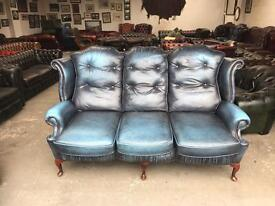Fantastic blue leather chesterfield highback Queen Anne chesterfield sofa UK delivery