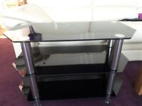 Black and chrome glass TV stand for sale