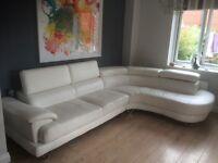 Corner sofa large white leather covered
