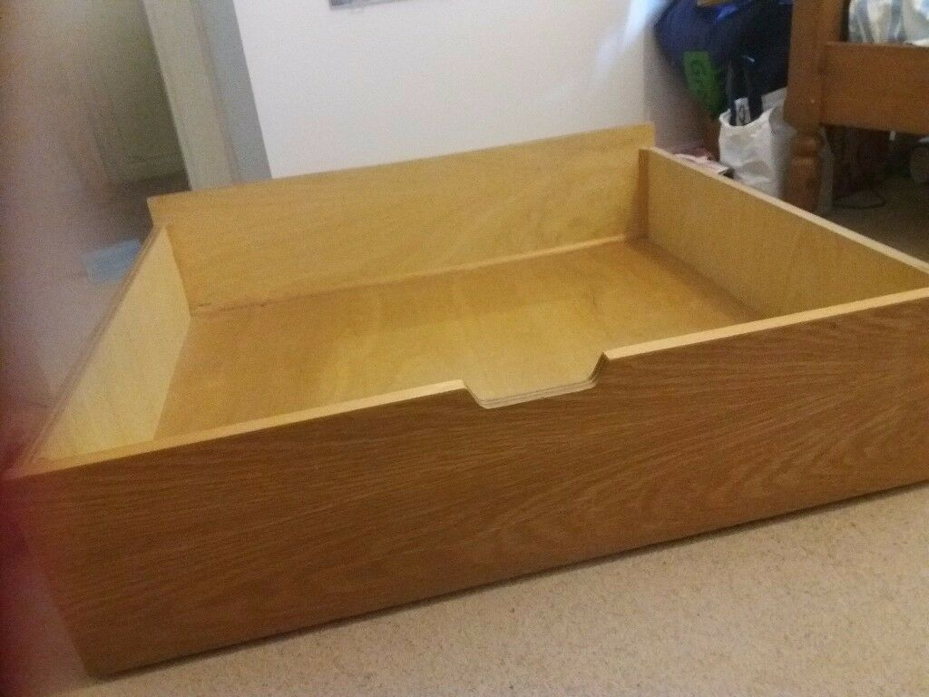 Underbed storage draw wooden oak