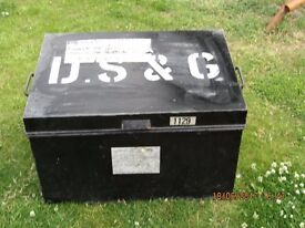 Large Black Metal Trunk suitable for tools or toys