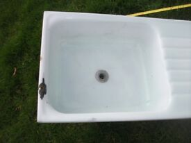 WHITE SMALL ENAMEL CAMPER SINK WITH DRAINER SUIT CAMPER CONVERSION