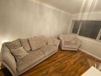 Grey Sofa & Love Chair