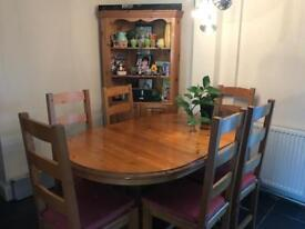 Solid wood dining table and display cabinet