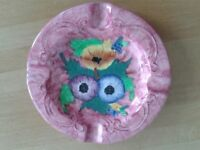 Decorative Collectible Maling Pottery Ashtray in Pink