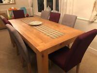 Oak Dining Table and 8 Chairs! MODERN DINING SET!