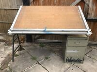 Vintage Admel drawing board with parallel motion and draws