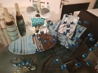 Kitchen items, decors , 8 pieces, colour- turquoise . Collection only