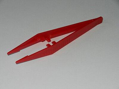 Pk of 10 - Plastic Tweezers 'Suregrip' design - Red