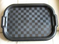 """Set of 4 SNACK TRAYS, 15"""" X 10.5"""" with rim & handles, Black, slightly patterned, lightweight, gc"""