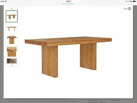 John Lewis dining room table and two benches, good condition, 2013, bought for £2,158