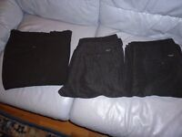 three brand new black men's trrousers(36 inch waist & long length)one black & two self design black.