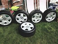 "5 Audi 18"" Alloy wheels with tires"