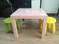 Pink Table With Additional Sidestools