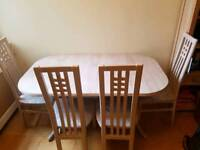 House hold furniture. Kitchen table, chairs, bookcase and storage unit