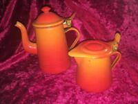Vintage Enamel Coffee and Milk Pots