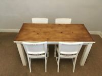Vintage wooden dining table and 4x chairs COLLECTION ONLY