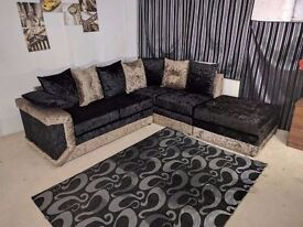 EXPRESS DELIVERY UK | DINO GOLD/BLK CORNER+FOOTSTOOL OR 3+2 SEATER SOFA | 1 YEAR WARRANTY