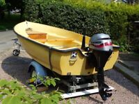 Bonwitco 12ft 6in day boat with road trailer and Mariner 8HP 4 stroke outboard.