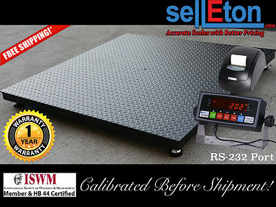 Floor Scale Pallet Size 60 X 60 With Indicator Printer. 5000 Lbs X 1 Lb