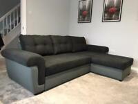 CORNER SOFA BED BLACK AND GREY