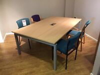 Meeting Table, With Bench Frame & Power/Data Box. Finished In Oak. 2000mm Width x 1200mm Depth.