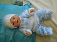 "NEW HAND KNITTED CLOTHES FOR BABY ANNABELL OR BABY BORN 16/19"" DOLL BOY OR GIRL"