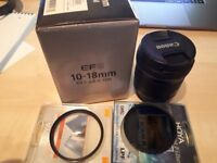 Canon EF-S 10-18mm Lens with UV and Polarising Filters
