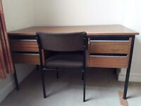 Sturdy office work desk with 4 drawers and chair
