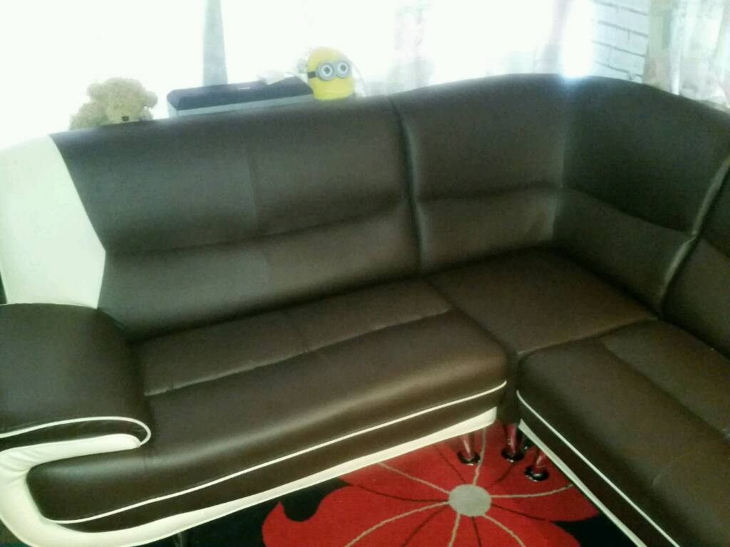 Faux chocolate and cream leather corner suite