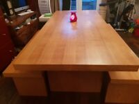 Solid Oak Dining Table and 2 Benches Marks & Spencers £1200 RRP