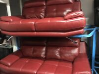 New/Ex Display Red Leather Genoa 3 Seater + 2 Seater + 1 Seater Sofa